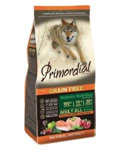 Primordial Pet Food PGF Adult Chicken & Salmon 12kg + Pochoutka 250g ZDARMA