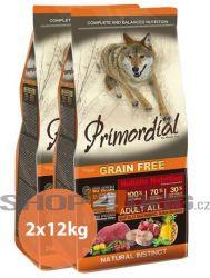 Primordial Pet Food PGF Adult Buffalo & Mackerel 2x12kg + Pochoutka Magnum 80g ZDARMA