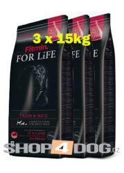 Fitmin Dog FOR LiFE Life Lamb & Rice 3x15kg + Perfecto Dog Masové plátky (20ks/200g) ZDARMA